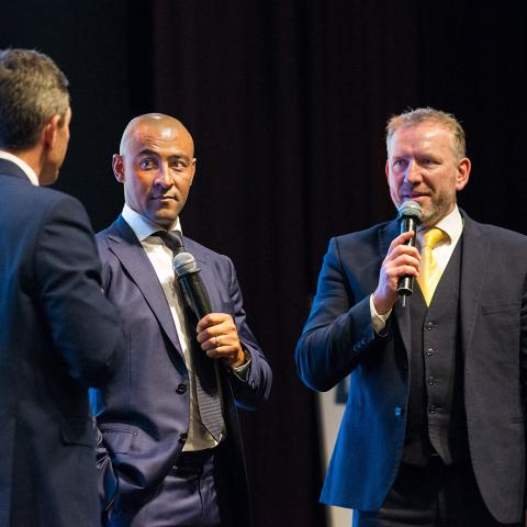 Robert Jones, Brian O'Driscoll and George Gregan join Andy Nicol on stage.