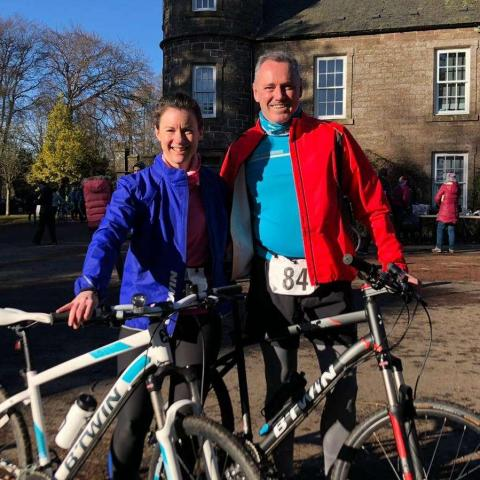 Patricia and Keith in training at a duathlon event in Monikie.